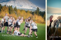 Photos of Puyallup Panthers Girls JV Lacrosse team with Mt Rainier in the background.